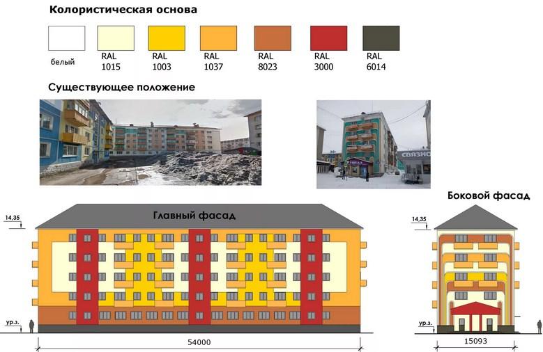 Колористическое решение фасада в Москве от АПБ ГРАД